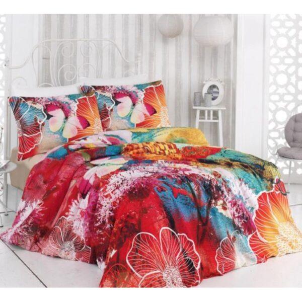 Комплект спално бельо с 3D десен с красиви, ярки пеперуди и цветя, които ще внесат повече цвят и нежност във вашата спалня. Идеален подарък за вашия дом или този на любим човек. 100% памук - ранфорс 3D печат на десена