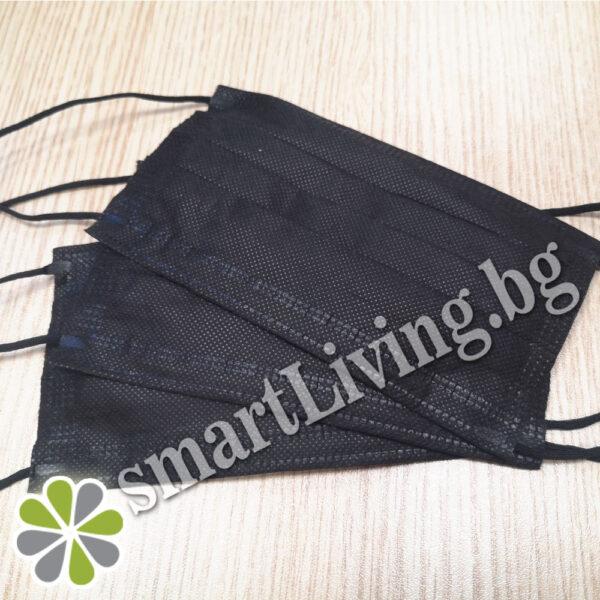 1 кутия (50 бр. маски) -Трислойна медицинска маска за лице ЧЕРНО с черен ластик
