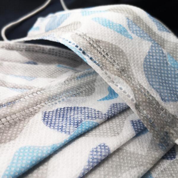 1 кутия (50 бр. маски) -Трислойна маска за лице КАМУФЛАЖНО със синьо