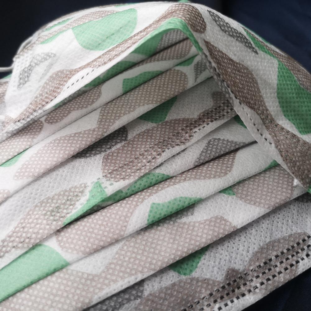 1 кутия (50 бр. маски) -Трислойна маска за лице КАМУФЛАЖНО със зелено