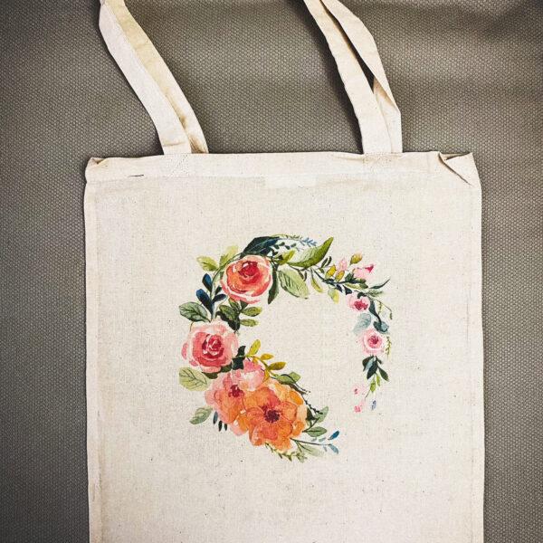 Памучна чанта с принт Floral ring