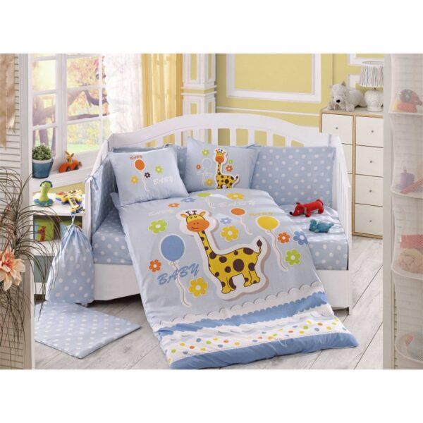 Бебешко спално бельо от 100% памук поплин - PUFFY MAVI