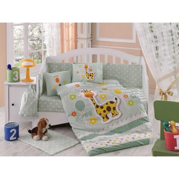 Бебешко спално бельо от 100% памук поплин - PUFFY MINT