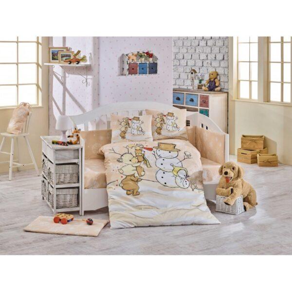 Бебешко спално бельо от 100% памук поплин - SNOWBALL BEJ