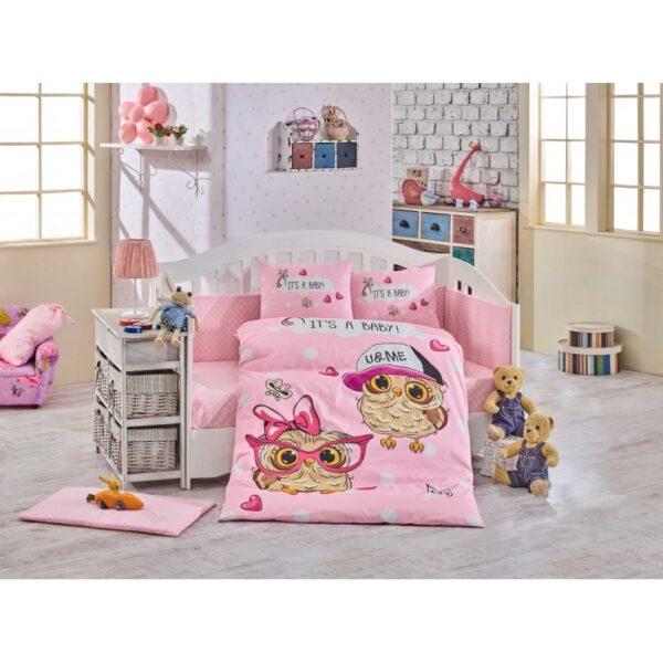 Бебешко спално бельо от 100% памук поплин - COOL BABY PINK