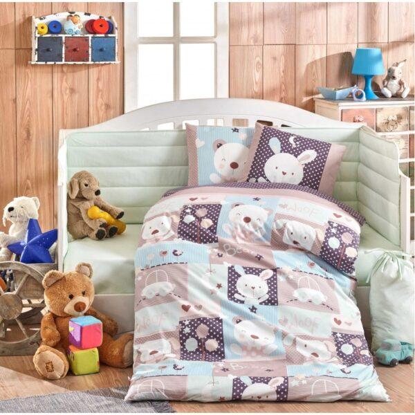 Бебешко спално бельо от 100% памук поплин - SNOOPY MINT