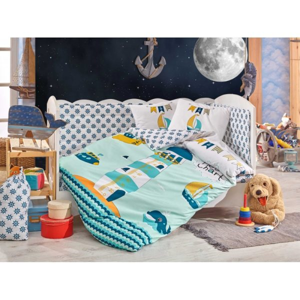 Бебешко спално бельо от 100% памук поплин - BABY SAILOR GREEN
