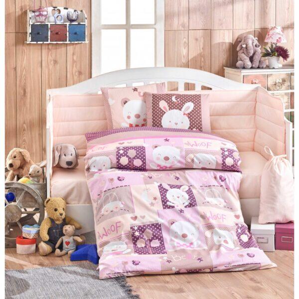 Бебешко спално бельо от 100% памук поплин - SNOOPY PEMBE