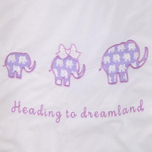 Бебешки спален комплект 4 части Лилав слон