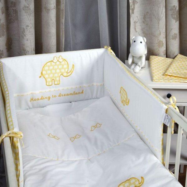 Бебешки спален комплект 4 части Жълт слон