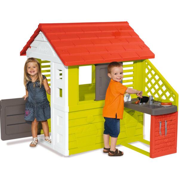 Smoby Детска Къща натюр с кухня, с кът за готвене