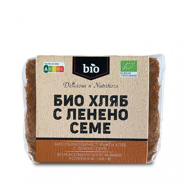 DELICIOUS N' NUTRITIOUS - БИО ХЛЯБ С ЛЕНЕНО СЕМЕ - 500 Г